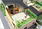 日当たりと風通しの良い大型ルーフバルコニーを備えたプラスワンの空間。/イメージパース