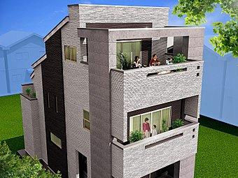 完成予想3D立面図:延床面積35坪超、全室6帖以上の大型4LDK+WIC、車庫1台のプラン