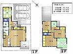 敷地面積140.18m2、建物面積105.30m2、1階土間クローク、パントリー、リネン庫、物入れ、2階小屋裏収納庫(4帖)等充実した収納ペースを確保、玄関吹抜け、テラススペース等デザイン性もプラス。