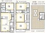 A区画間取図 LDK床暖房、食洗器内臓システムキッチン、全室収納は全邸共通です