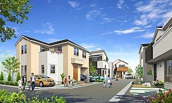 【街並み完成イメージ】稲毛区作草部の整った住宅地内に、全5区画の街並みが生まれます。