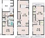 【1号棟】ビルトインガレージ。1.3階居室は7帖の広さを確保。日当りが良く人目が気にならない2階リビング。人気の対面式キッチン。収納充実。2.3階にバルコニー設置、3階は2面バルコニー。