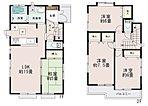 【1号棟】LDKはゆとりの15帖。人気の対面式キッチン。水廻りを集約させた機能的な家事動線。リビングの隣にはホッとできる和室を配置。2階居室は全室6帖以上。収納充実。ワイドバルコニー。