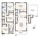 1号棟プラン リビングスペースは天井の高い勾配天井