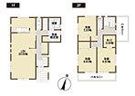 1号棟間取り図 20帖のLDKは家族団らんの空間。対面キッチンなのでお料理をしていても家族の姿が見えます。