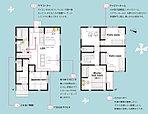 【建物プラン例】4LDK+カースペース2台※こちらは間取りの一例です。自由設計ですので、ご家族のこだわりのプランをぜひ。