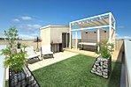 人気の屋上庭園の施工も可能です。お気軽にお問合せください