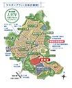 【全体計画図】美しく緑豊かな街づくりを行うため、区画の道路に面する側には生垣(緑化)が義務付けられています。ケヤキ並木や桜並木の幹線道路と調和した街並みは、住まう方にとっての貴重な財産となっています。
