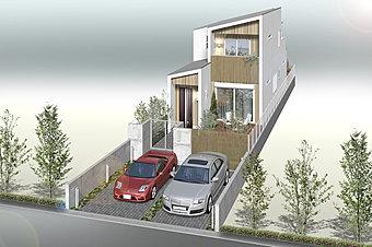 【モデルハウス見学ご予約受付中】参考プランの完成予想パースです。ゆとりの敷地を活かし、採光と通風を考慮した最適なゾーンプランをご提案致します。ぜひご覧ください。