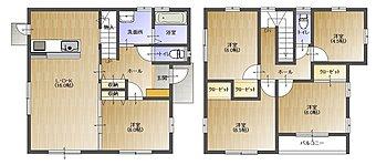 32坪・5LDKの新築 2階建て住宅。将来を見据えた豊富な部屋数の間取り。
