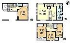 2号棟間取り図●車庫スペース有!ご家族のコミュニケーションも深まる対面キッチン&リビング階段!各居室収納スペース完備で室内スッキリ!