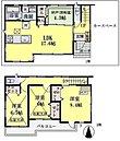 6号棟間取り図●各居室収納スペース完備しているので整理整頓もしやすく室内スッキリ!勾配天井の洋室は開放感アップ!