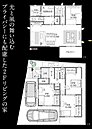 (B棟)間取り図 2階リビング&モダン和室。前面道路7M以上、間口10M。こちらも