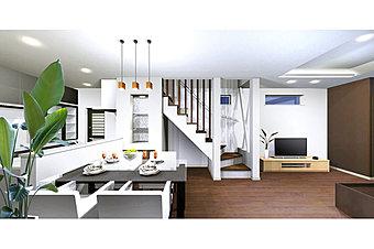 【モデルハウス住戸・家具付き販売!】電動シャッター付き地下車庫のある大型3LDK、収納豊富な間取りです。タイル貼りが目を引く美しい白い外観。(現地写真)