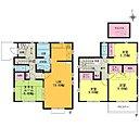 タタミルームの有る4LDK LDK16帖 主寝室8帖 屋根裏収納