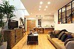 室内完成イメージ写真。フロア、建具、塗壁にすべてオリジナルの天然素材を使用しています!