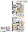B棟:間取り シューズクローク、ウォークインクローゼット、パントリーなど収納が豊富。玄関下にも収納スペースがあります。