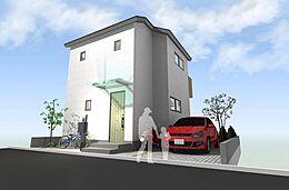 参考プランの外観イメージ図です。建物参考価格1200万円(税込)外構、設備接続等は別途です。