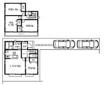 建物プラン例(F区画)4LDK、建物価格982万円、建物面積90.25m2