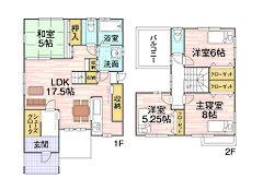 1号地プラン例 建物価格1674万円 床面積95.84m2