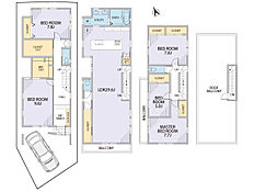A区画参考プラン間取図   延床約175平米       建築条件はございません  土地113.30平米価格16980万円