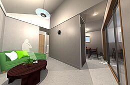 参考プランのリビングイメージ図です。建物参考価格1200万円(税込)外構、設備接続等は別途です。