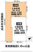 B区画土地地形図 南側は武蔵野市所有の更地なので開放感があります