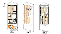 参考プラン木造3階建延床面積84.67平米リビング17.6帖