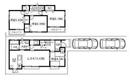 建物プラン例(H区画)4LDK、建物価格957万円、建物面積87.87m2