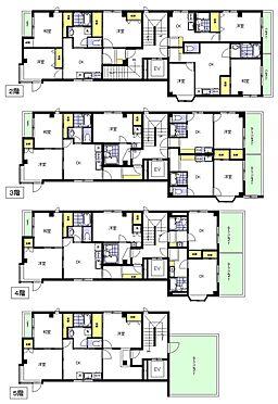 マンション(建物一部)-大田区久が原3丁目 2階〜5階平面図