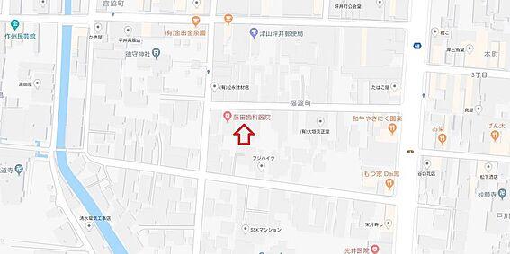 住宅付店舗(建物全部)-津山市福渡町 地図