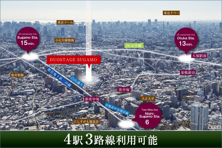 現地からはJR山手線・都営地下鉄三田線「巣鴨」駅、JR山手線「大塚」駅、