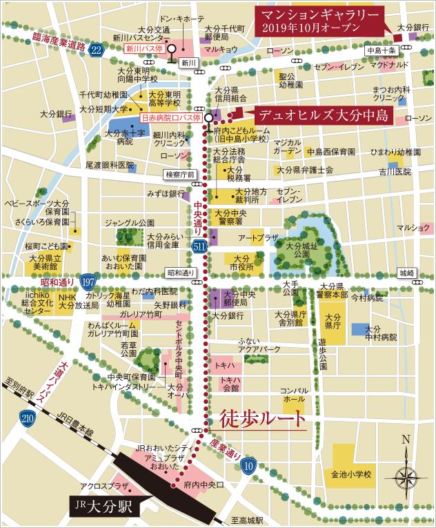 デュオヒルズ大分中島:モデルルーム地図