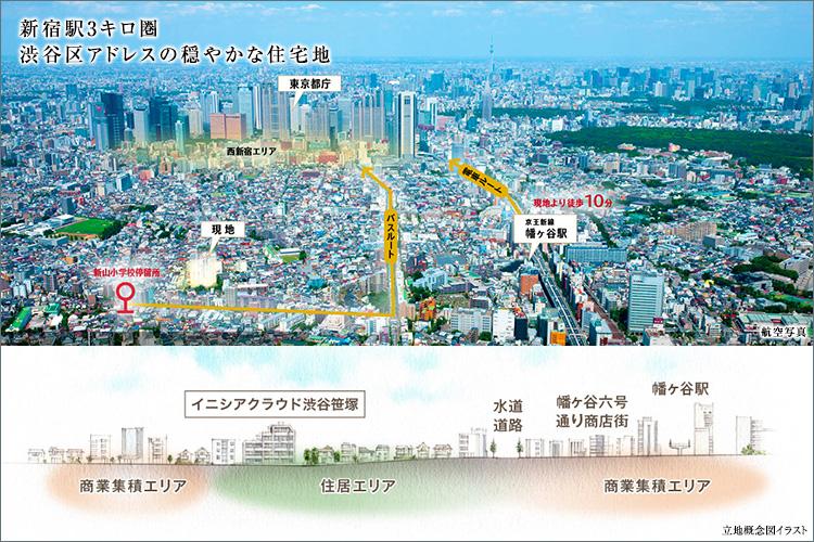 ■「新宿」駅3kim圏。第一種中高層住居専用地域の渋谷区アドレス。