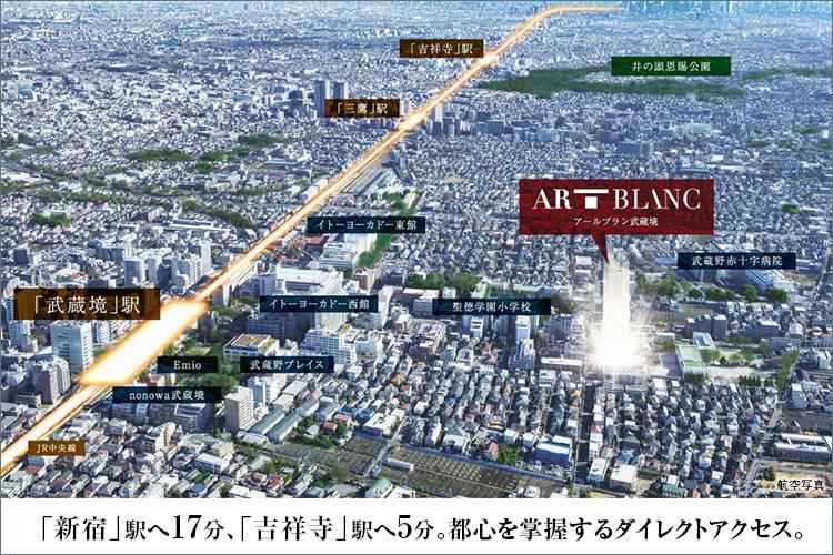 JR中央線「武蔵境」駅徒歩7分というポジションに位置する「アールブラン武蔵境」。