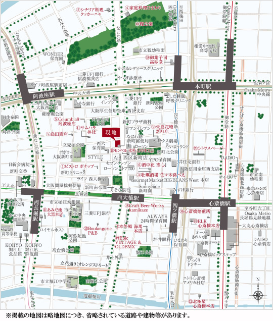 ワコーレ大阪新町タワーレジデンス:案内図