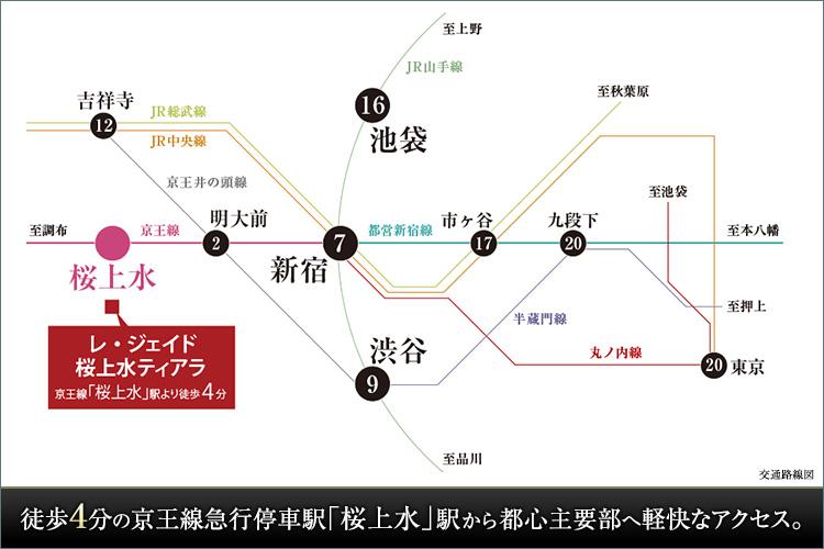 徒歩4分の京王線急行停車駅「桜上水」駅から都心主要部へ軽快なアクセス。