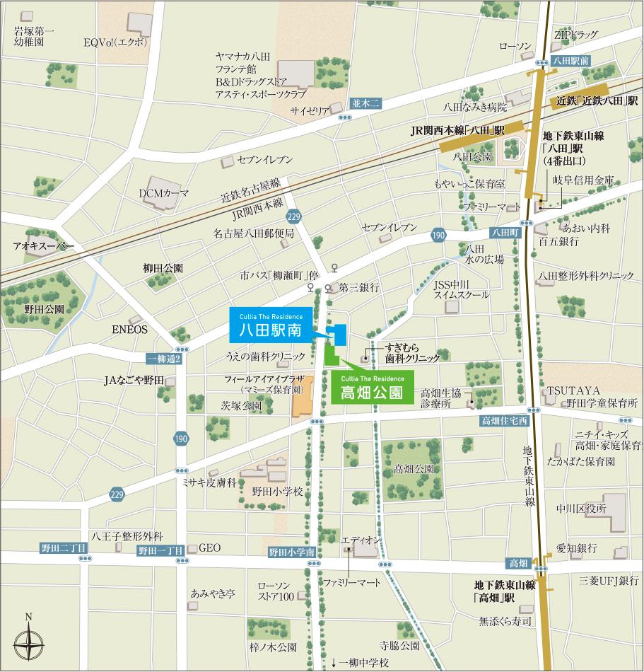 カルティア・ザ・レジデンス 高畑公園・八田駅南:案内図