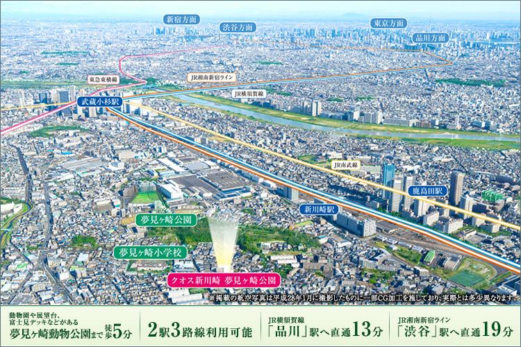 再開発で目覚ましい発展を遂げている新川崎駅。