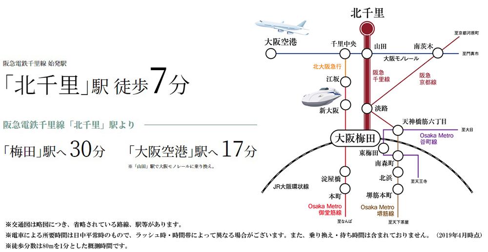ジオ北千里藤白台:交通図