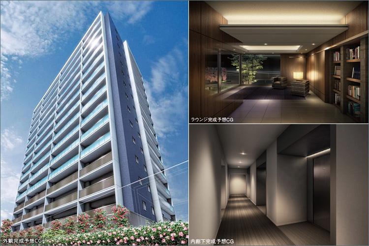 ■プライベート感を高めた内廊下やラウンジスペースなど、上質を意識した共用空間