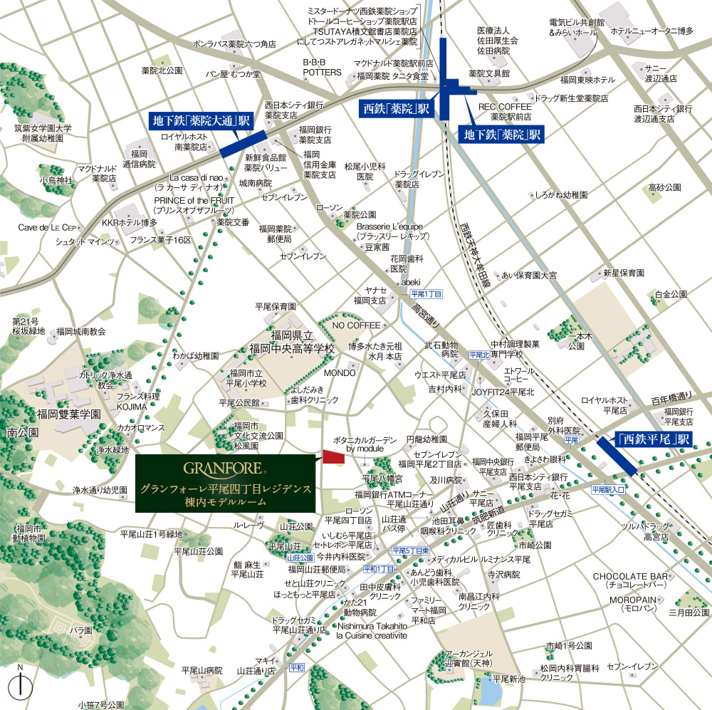 グランフォーレ平尾四丁目レジデンス:モデルルーム地図