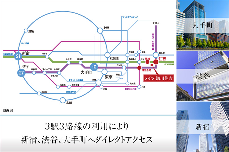 徒歩7分の「住吉」駅からは、半蔵門線と都営新宿線が利用可能。