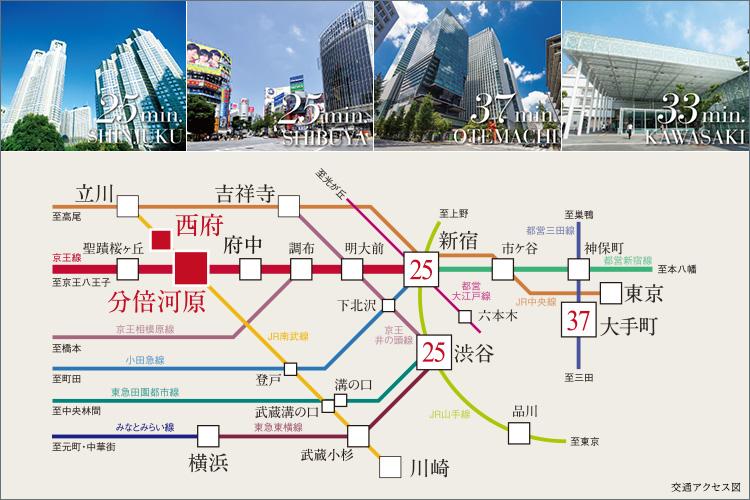 ■2駅2路線利用可。新宿へ直通25分都心へ直結する好アクセス