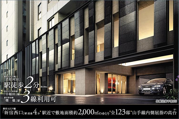 新宿エリアが至近にある、都営大江戸線「若松河田」駅より徒歩2分。