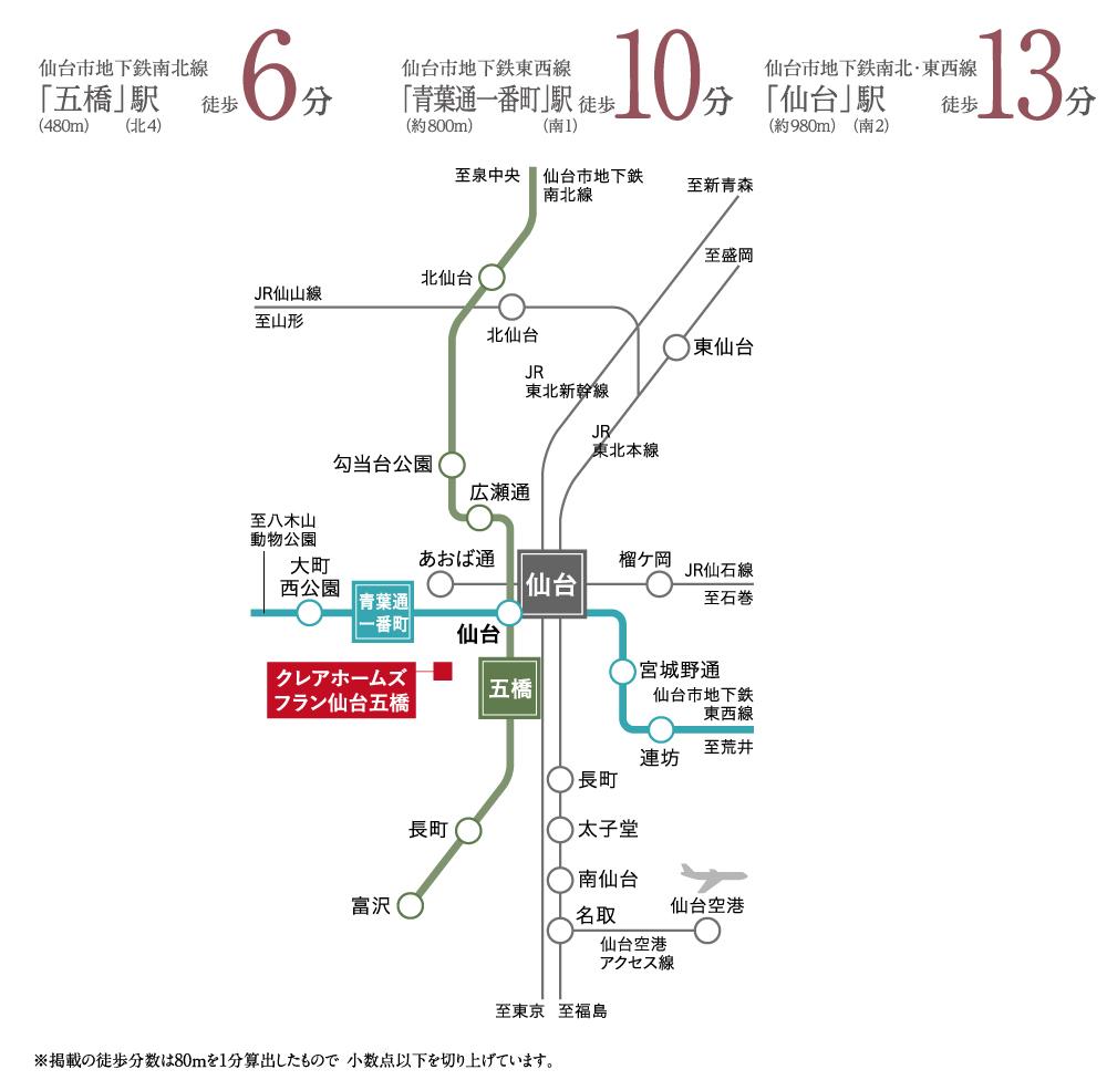 クレアホームズ フラン仙台五橋:交通図