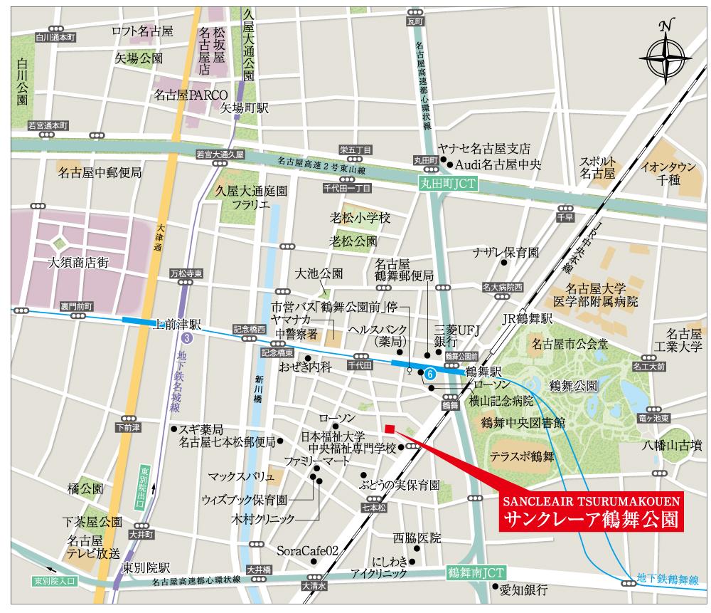 サンクレーア鶴舞公園:モデルルーム地図
