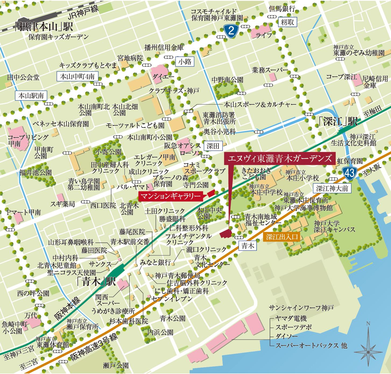 エヌヴィ東灘青木ガーデンズ:モデルルーム地図