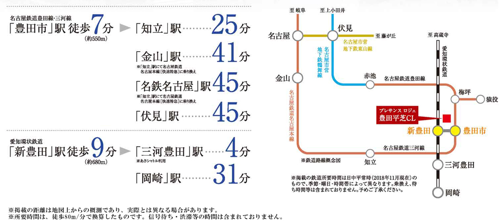 プレサンス ロジェ 豊田平芝CL:交通図