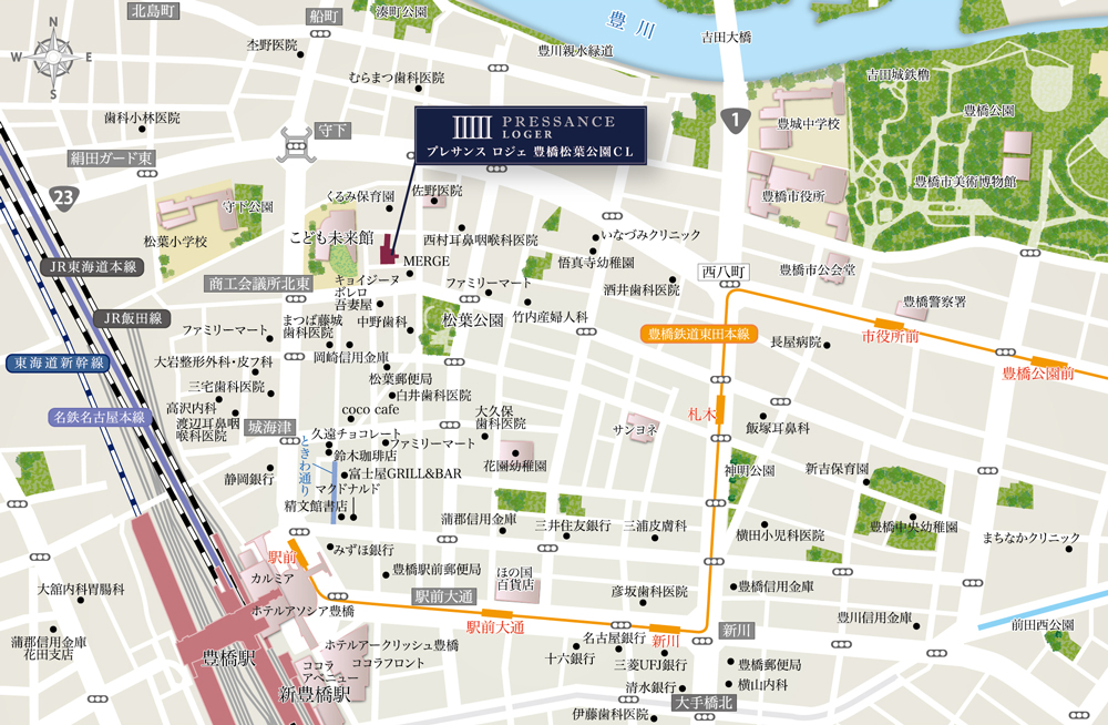 プレサンス ロジェ 豊橋松葉公園CL:案内図